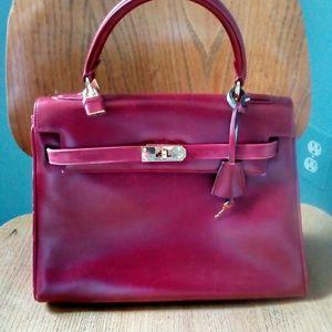 Handbags - Red leather handbag - no name Kelly style